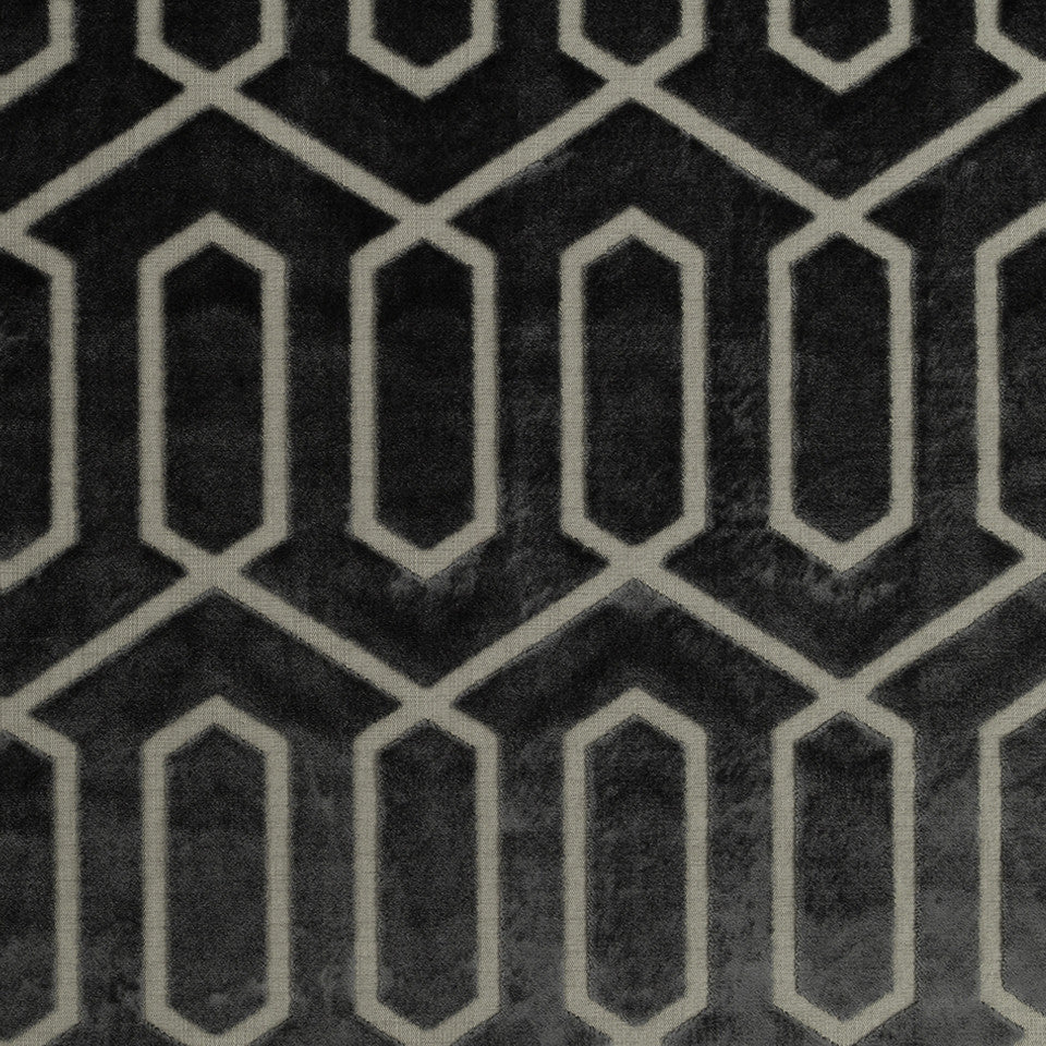 DWELLSTUDIO MODERN CARAVAN Bengal Lattice Fabric - Charcoal
