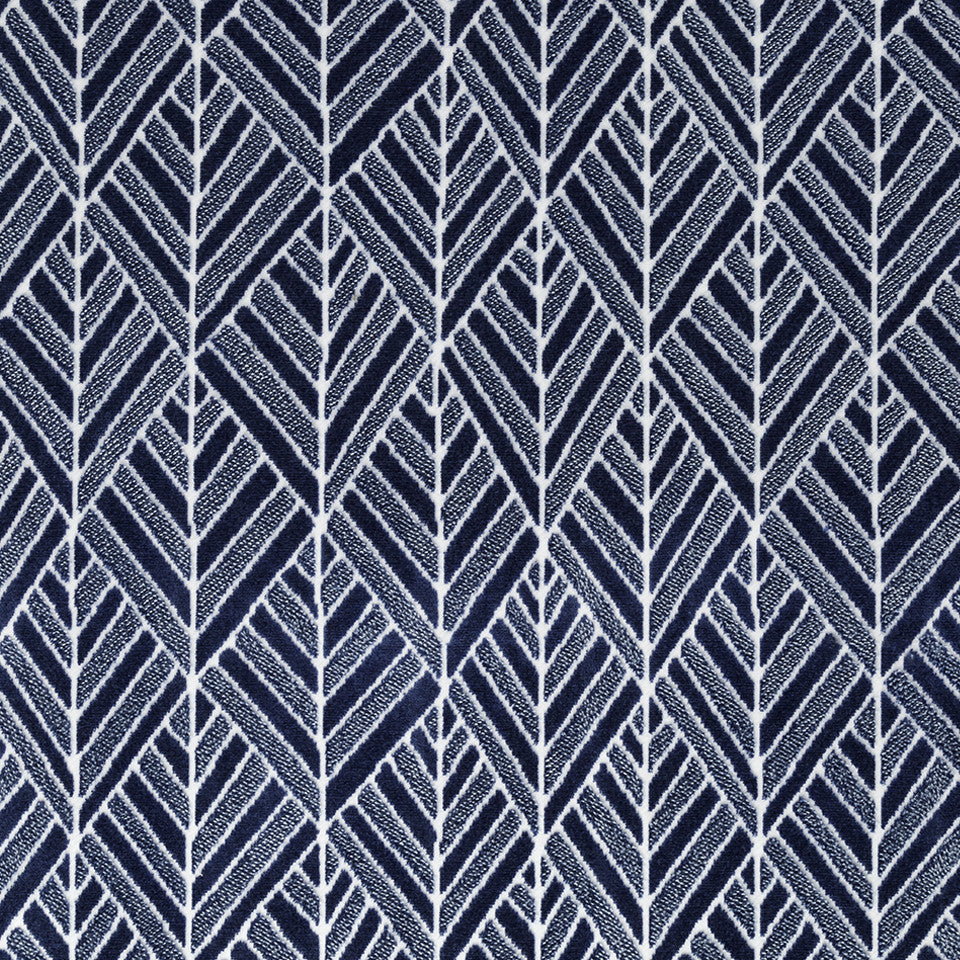 VELVET GEOMETRICS Tonga Velvet Fabric - Atlantic