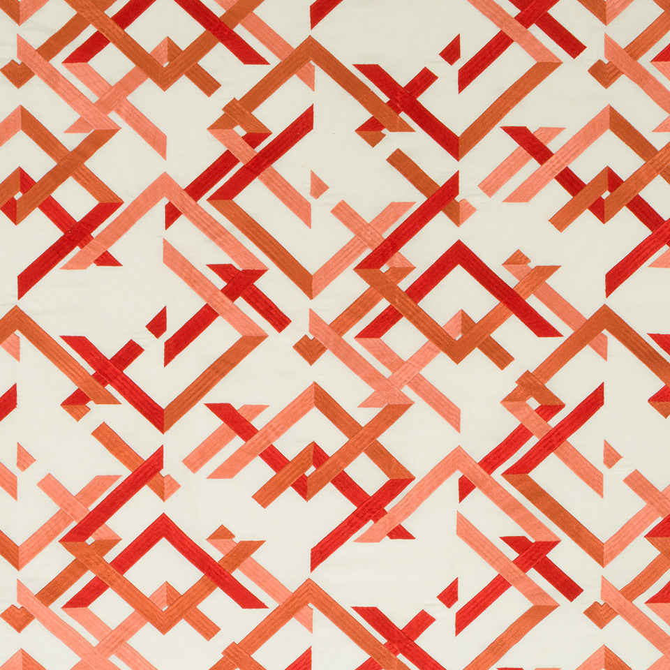 Silk Jacquards And Embroideries V Abstract Fret Fabric - Coral