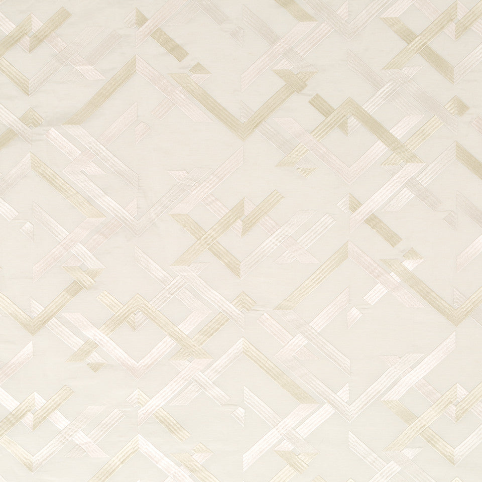 Silk Jacquards And Embroideries V Abstract Fret Fabric - Travertine