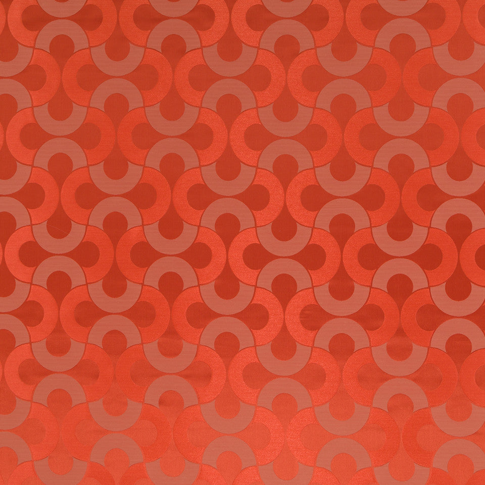 Silk Jacquards And Embroideries V Setting Circle Fabric - Coral