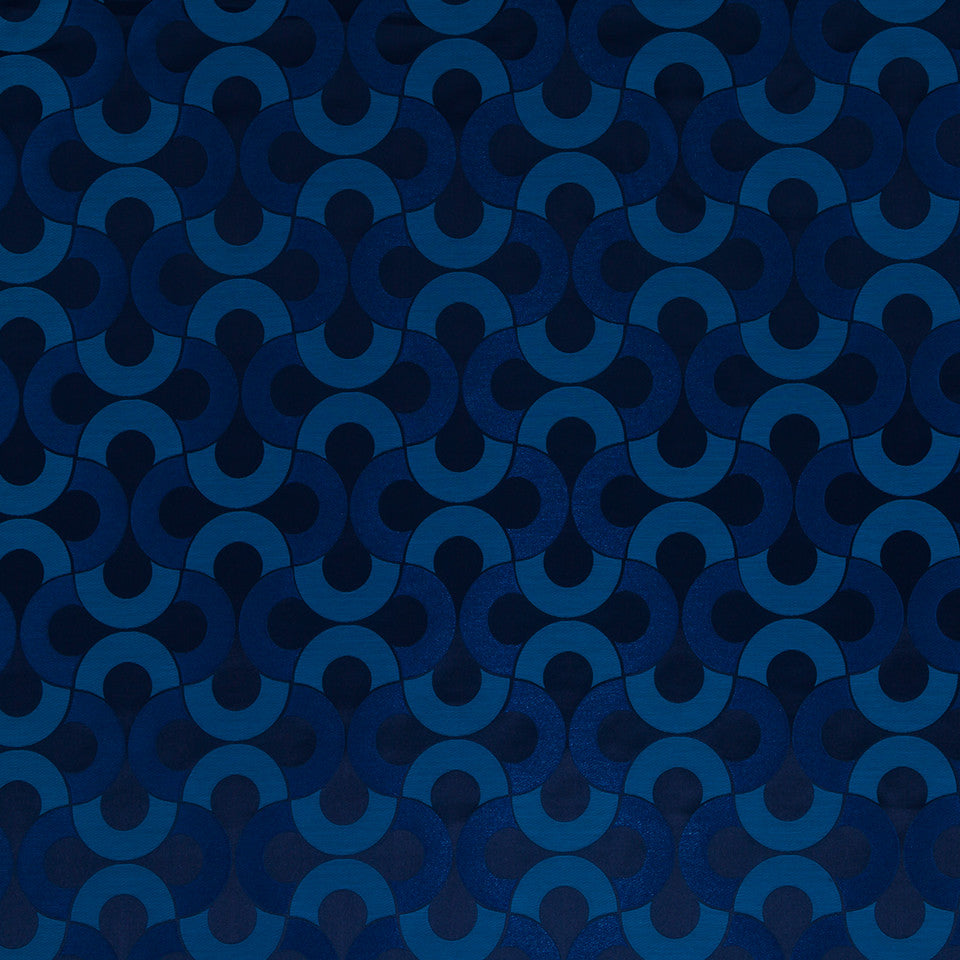 Silk Jacquards And Embroideries IV Setting Circle Fabric - Batik Blue