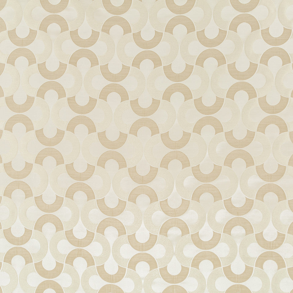 Silk Jacquards And Embroideries V Setting Circle Fabric - Travertine