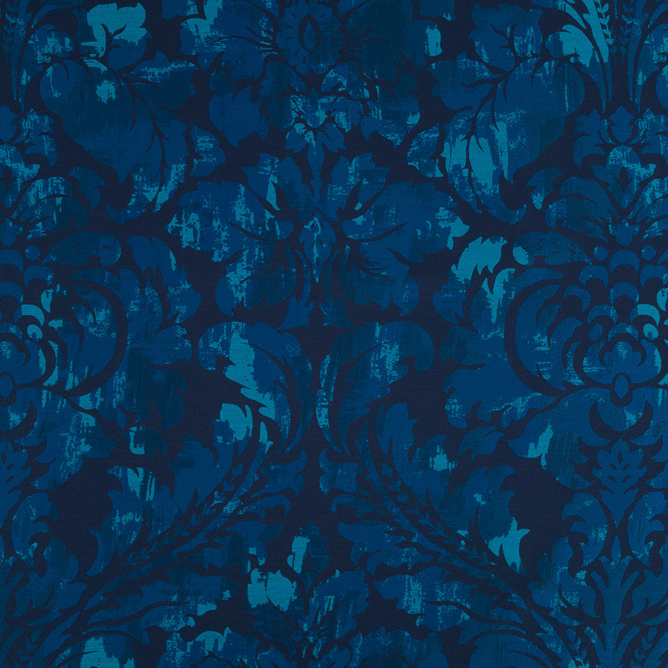 Silk Jacquards And Embroideries IV Chambord Frame Fabric - Batik Blue