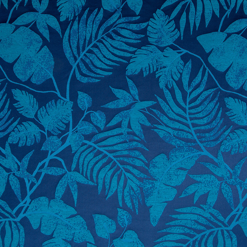 Silk Jacquards And Embroideries IV Positano Palm Fabric - Navy