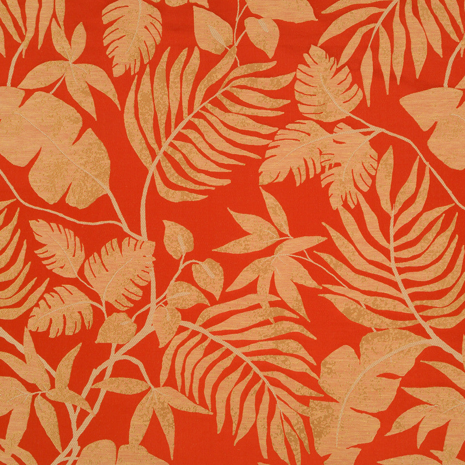 Silk Jacquards And Embroideries V Positano Palm Fabric - Coral