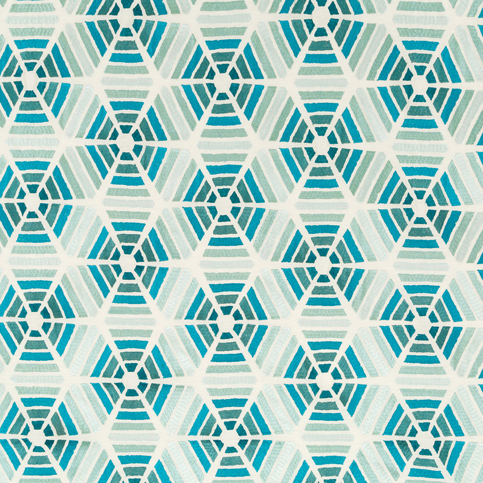 Silk Jacquards And Embroideries IV Kaleidoscope Fabric - Neptune