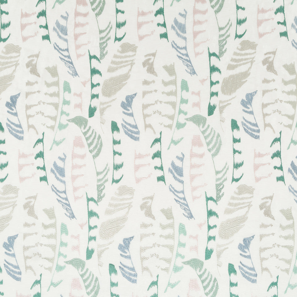 Silk Jacquards And Embroideries IV Plume Stitch Fabric - Surf