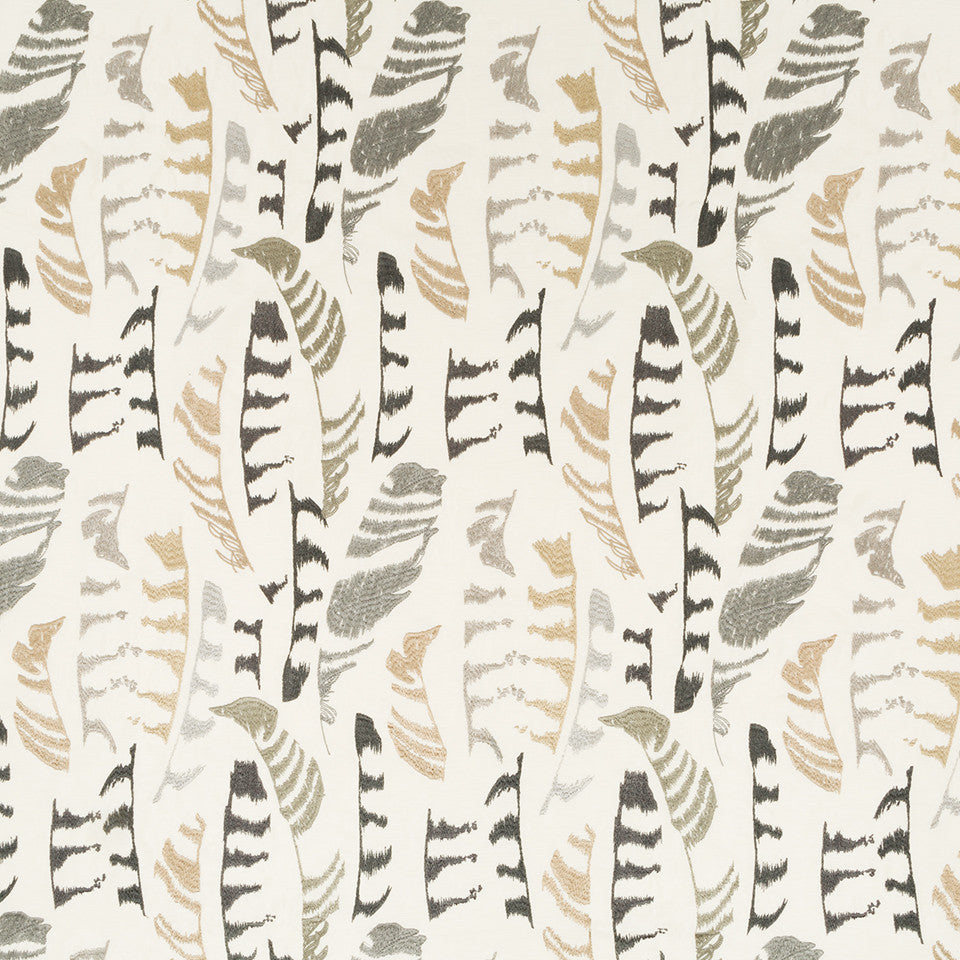 Silk Jacquards And Embroideries V Plume Stitch Fabric - Travertine