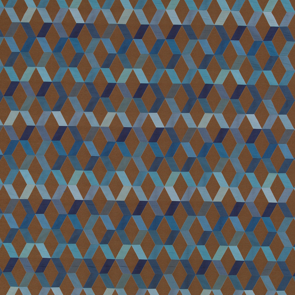 Copper-Stone-Ink Diamond Facets Fabric - Copper