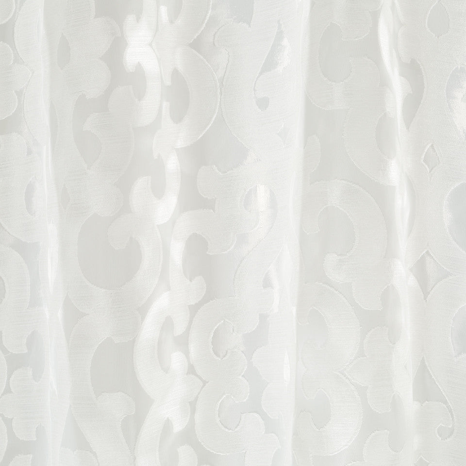 Patterned Sheers Runway Scroll Fabric - Pale Cream