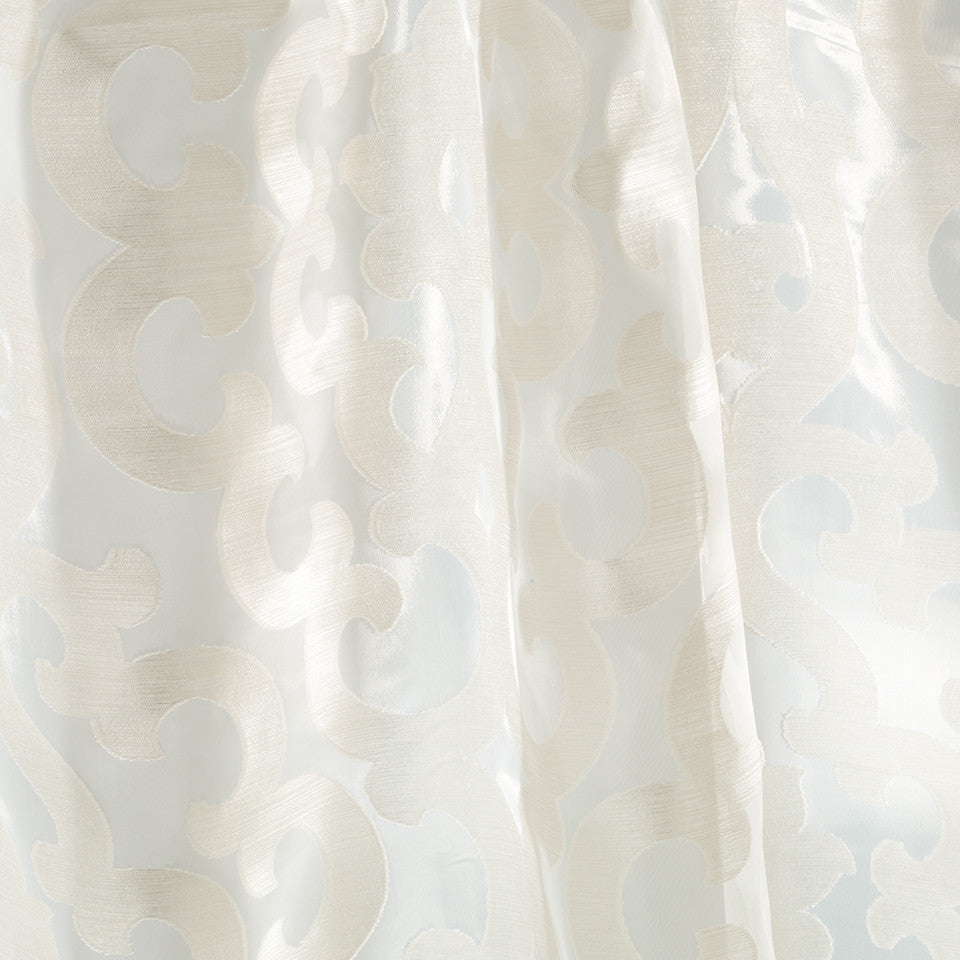 Patterned Sheers Runway Scroll Fabric - Driftwood