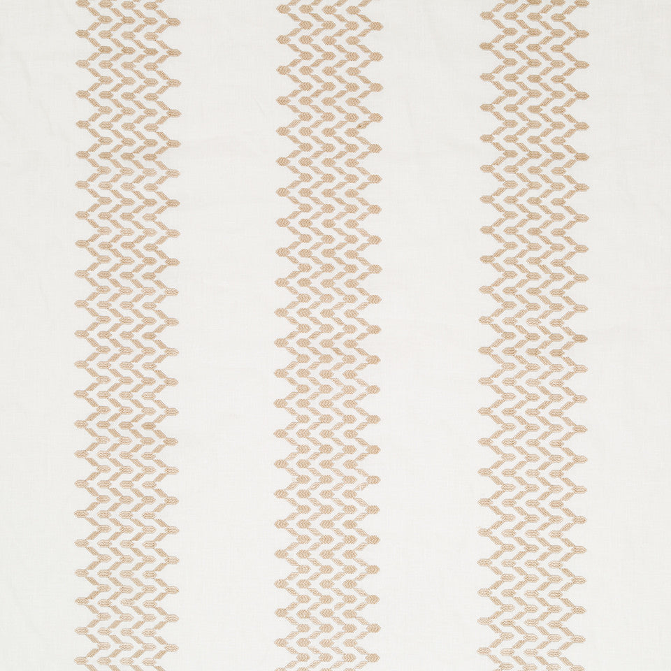 Decorative Drapery Warm Colors Trail Stitch Fabric - Grain