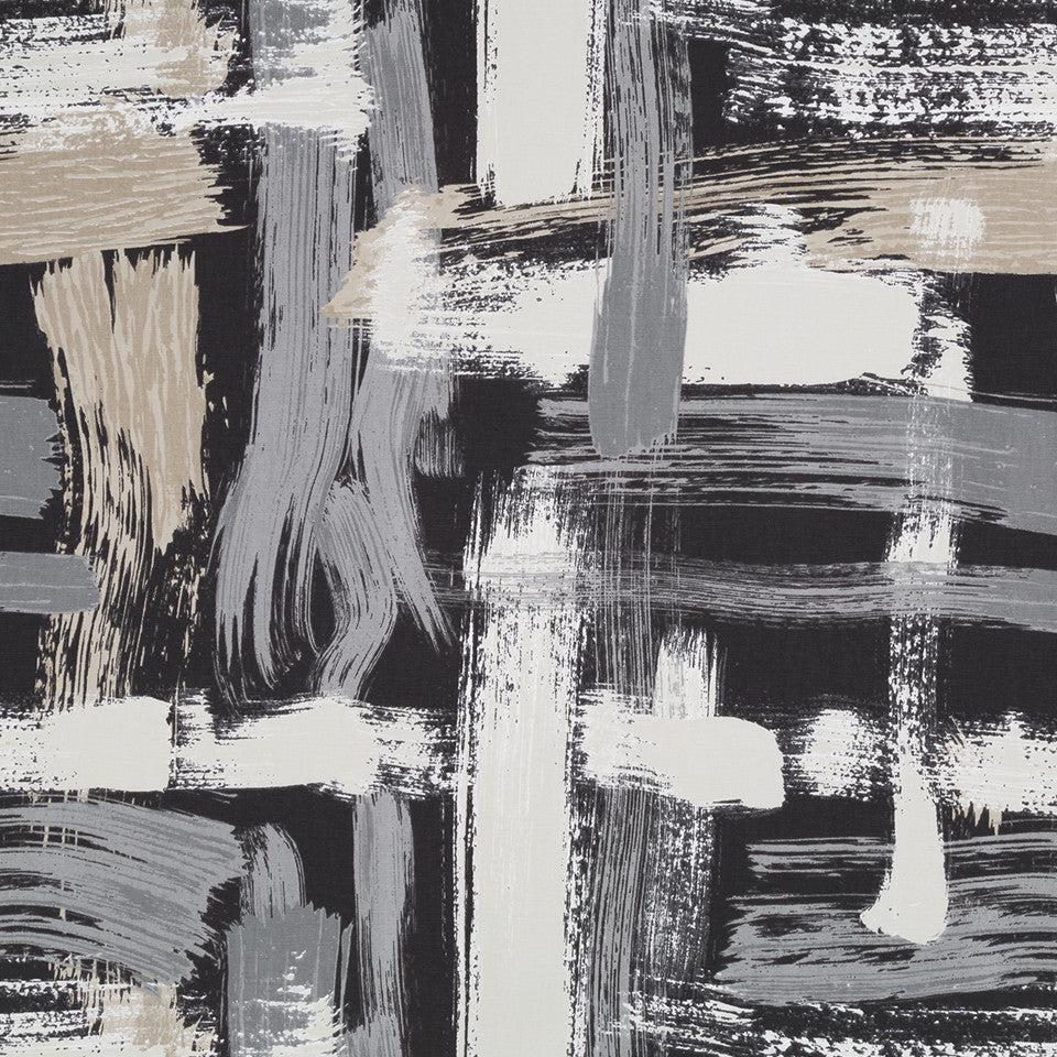 Sedge Abstract Fabric - Charcoal