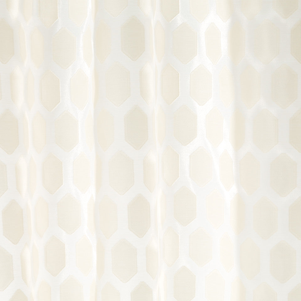 Patterned Sheers Obelisk Fabric - Pale Cream