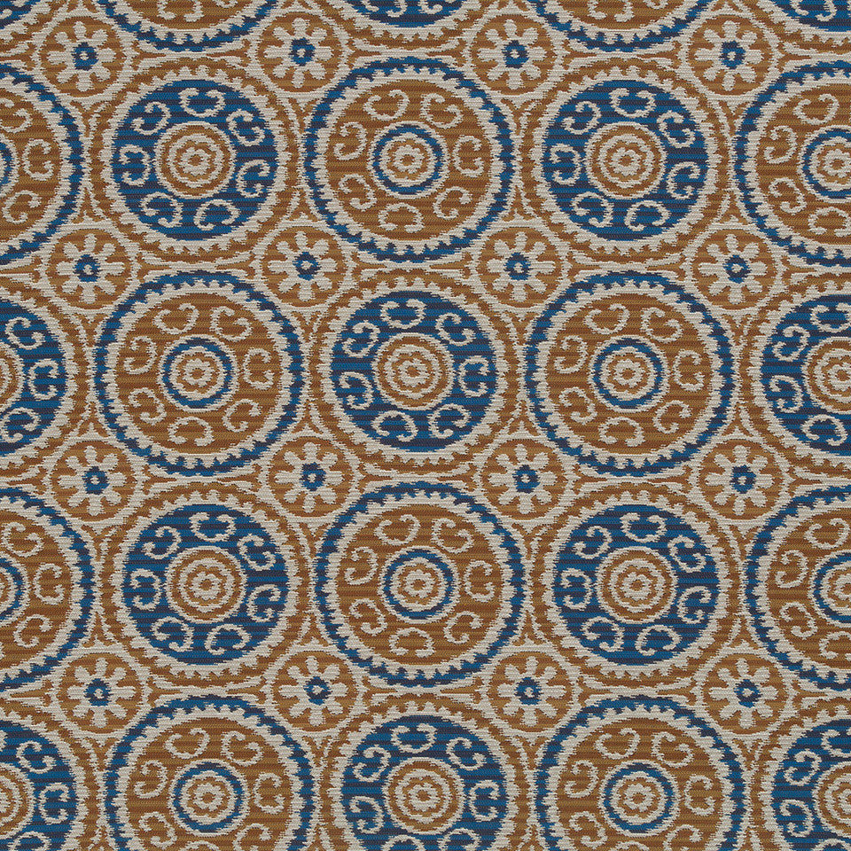 Copper-Stone-Ink Peer Suzani Fabric - Copper
