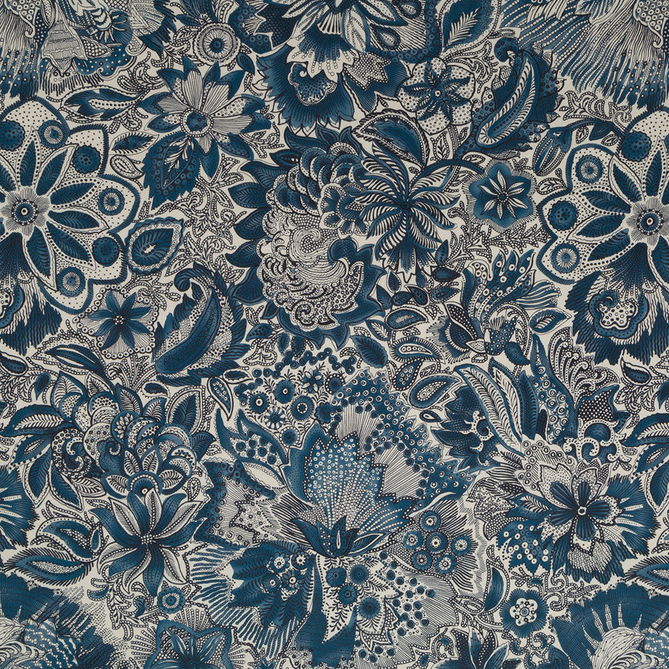 Mussel Shell-Batik Blue-Chambray Leonini Fabric - Batik Blue
