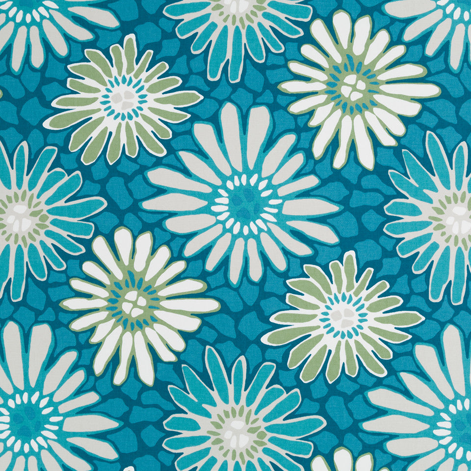 Tactile Flora Fabric - Turquoise
