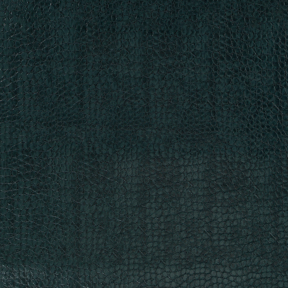 Faux Leather Textures Smooth Croc Fabric - Blue Pine