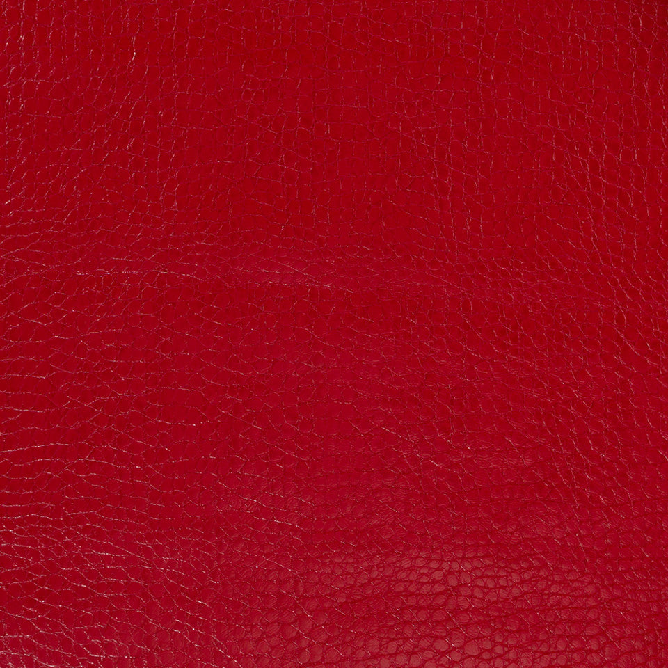 Faux Leather Textures Smooth Croc Fabric - Lacquer Red