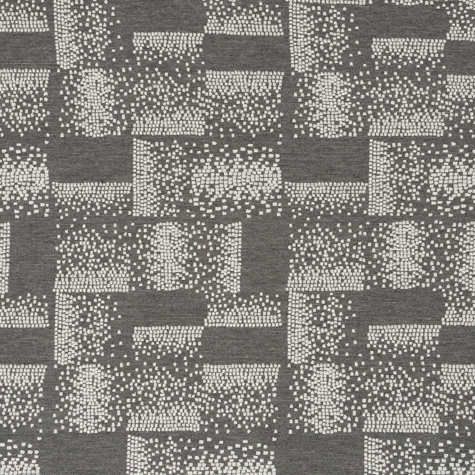 Luxe Natural Polished Pixel Fabric - Graphite