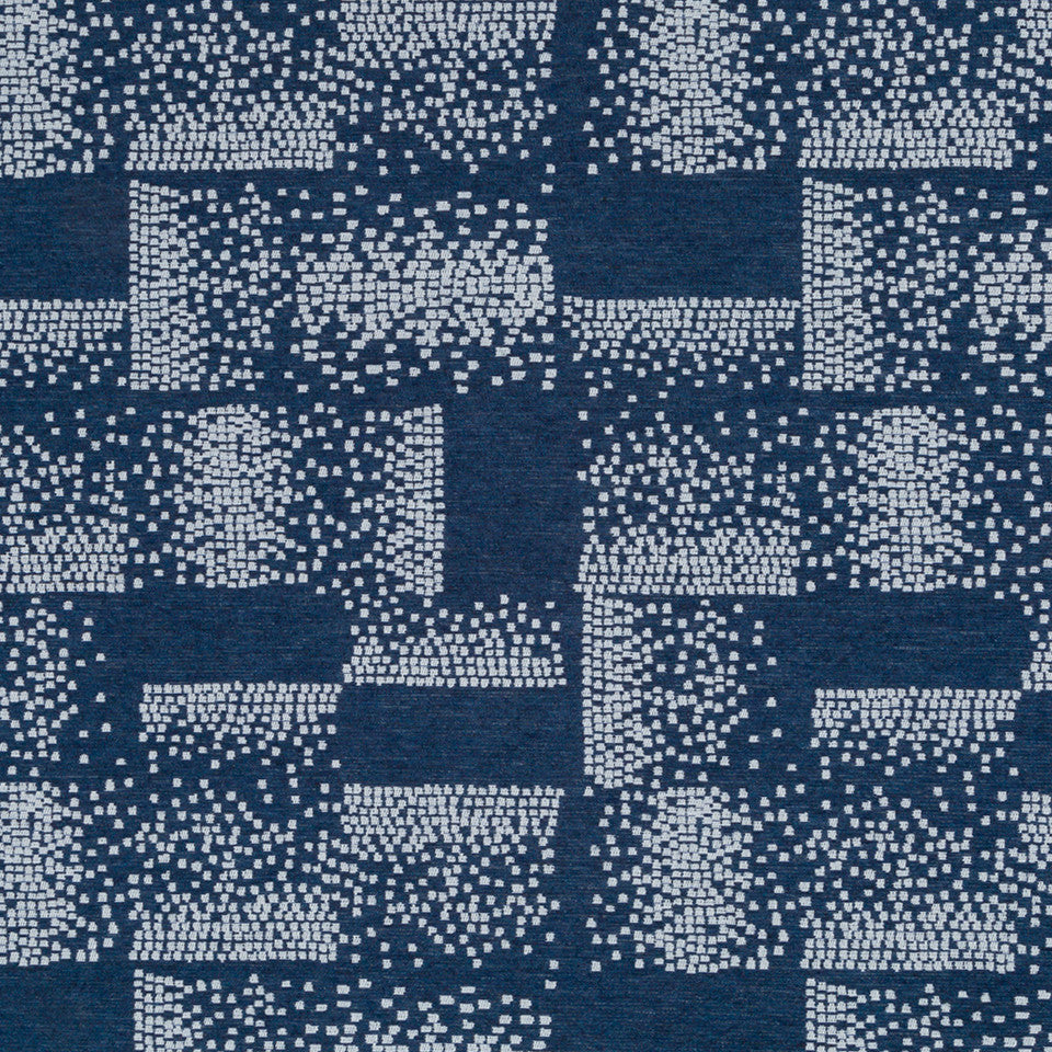Luxe Natural Polished Pixel Fabric - Indigo