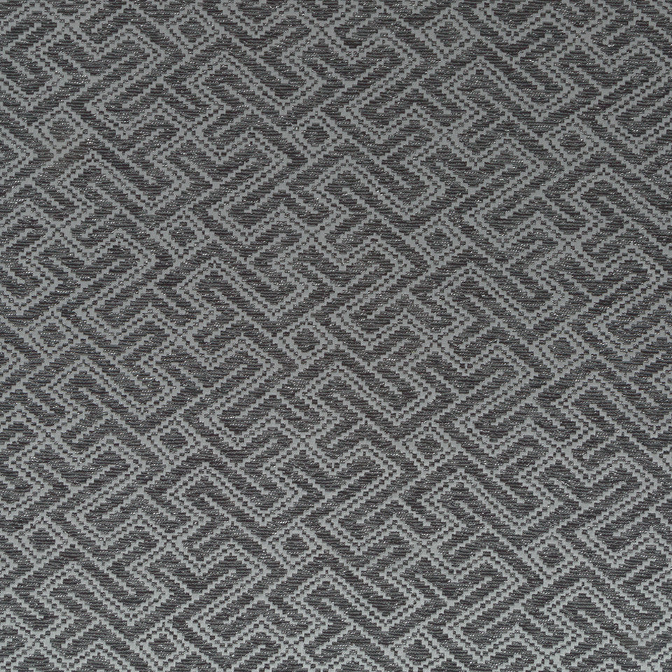 Luxe Natural Mitered Maze Fabric - Onyx
