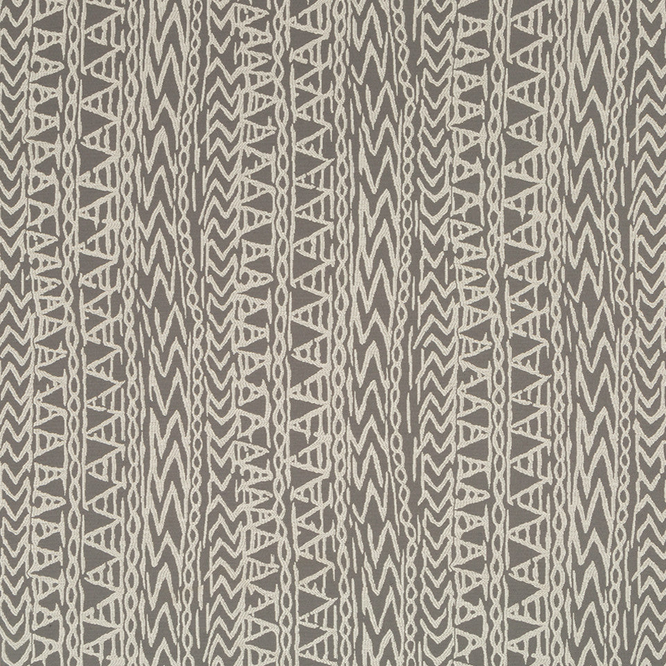 Luxe Natural Carved Glyphs Fabric - Graphite