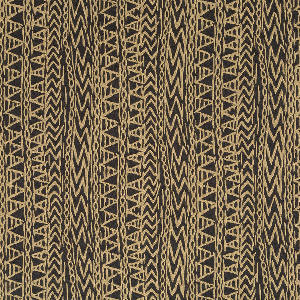 Luxe Natural Carved Glyphs Fabric - Onyx