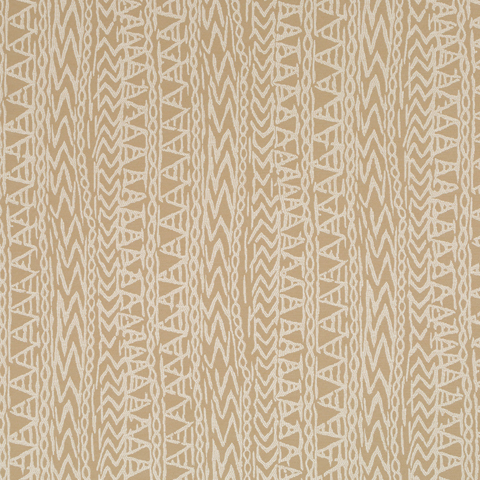 Luxe Natural Carved Glyphs Fabric - Stardust