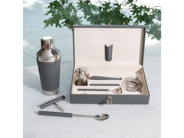 Boxed Bar Tool Set-Leather Grey/Stainless Steel