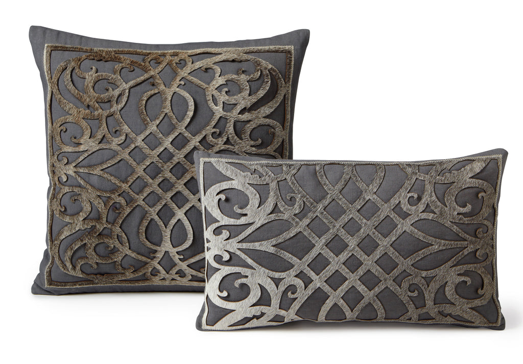 Lattice Cowhide Pillow - Gray