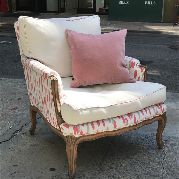 Vintage French Bergere Chair & Ottoman