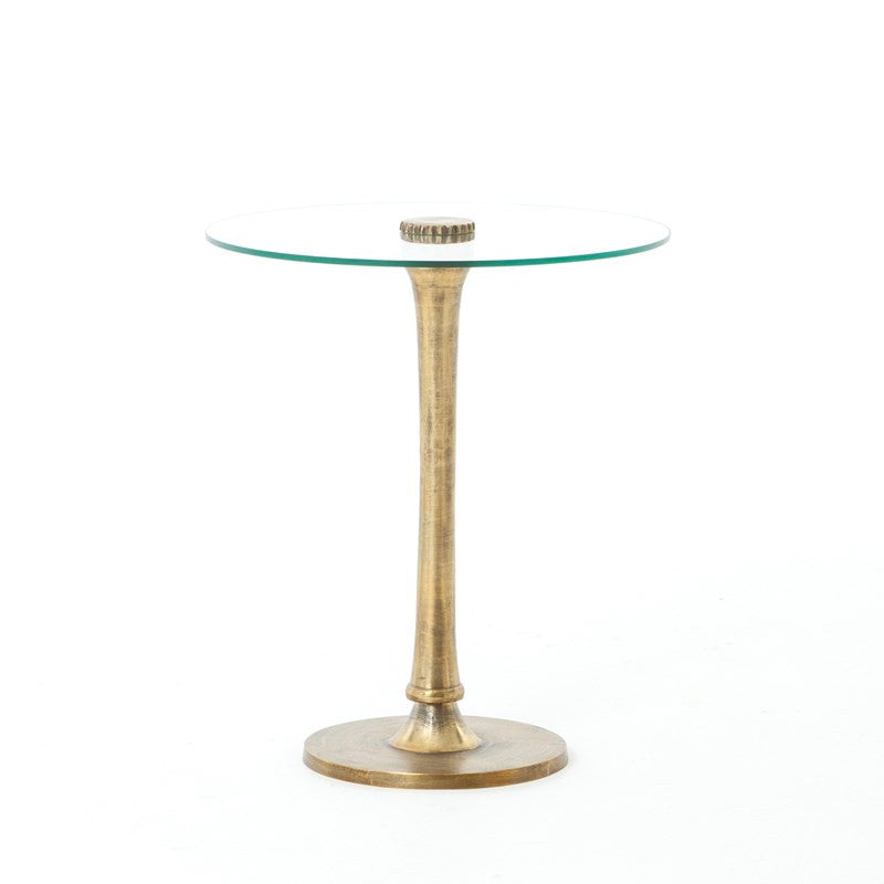 SIDE TABLE W/GLASS TOP-BRUSHED BRAS