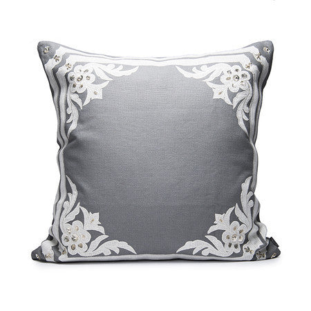 Applique Border Pillow With Sequins