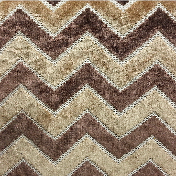 Cocoa Chevron Cut Velvet Fabric