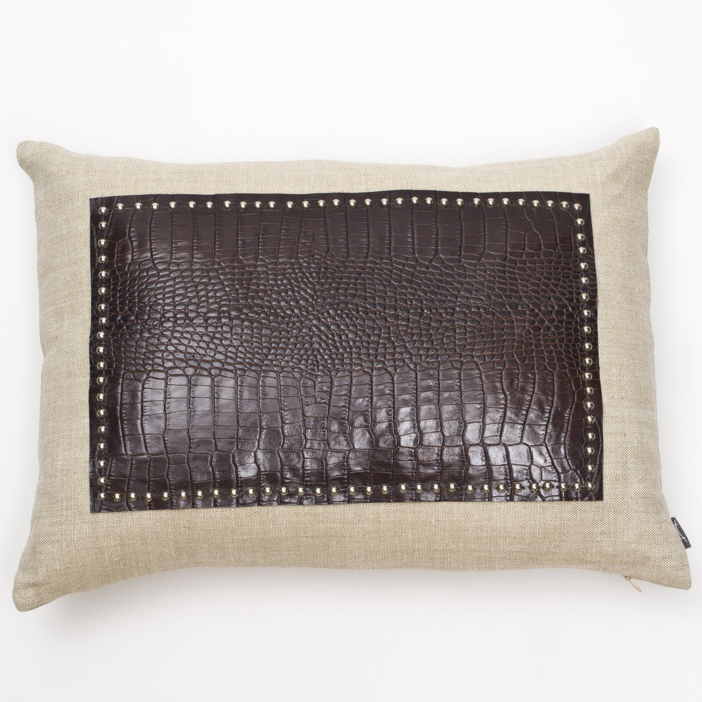 Crocodile Leather Studded Pillow
