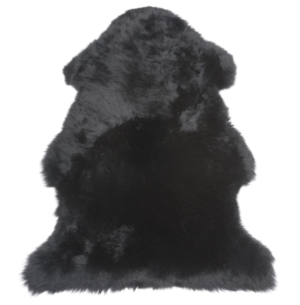 Single Sheepskin Throw Rug - Black