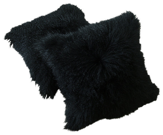 Tibetan Lamb Pillow - Black