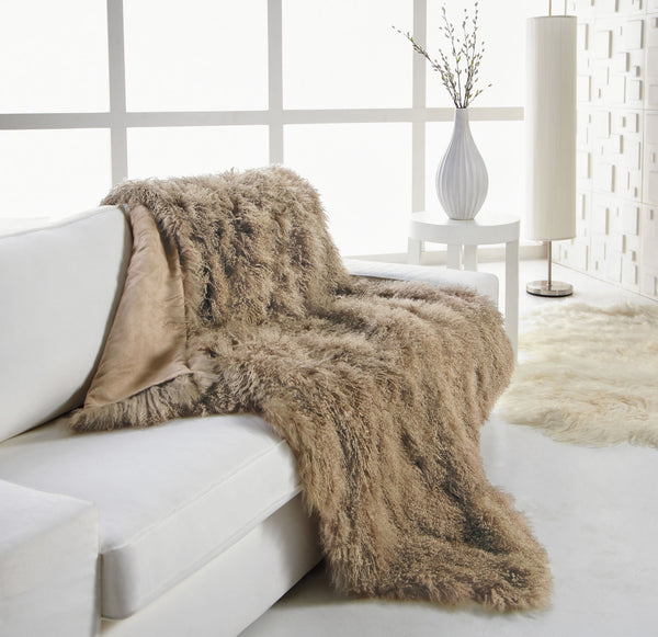 Tibetan Lamb Throw Dune Zarin Fabrics