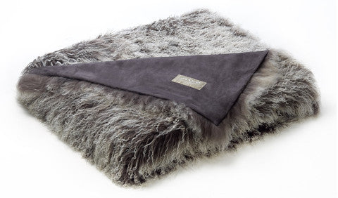 Tibetan Lamb Throw - Frost Grey