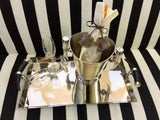 Vintage Chrome Serving Tray With Bone Handles