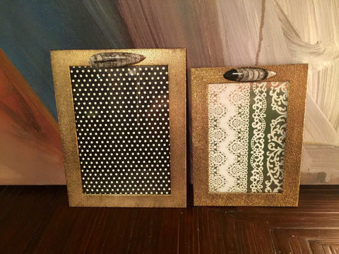 Speckled Metal Photo Frames with Copper Gilded Fossil