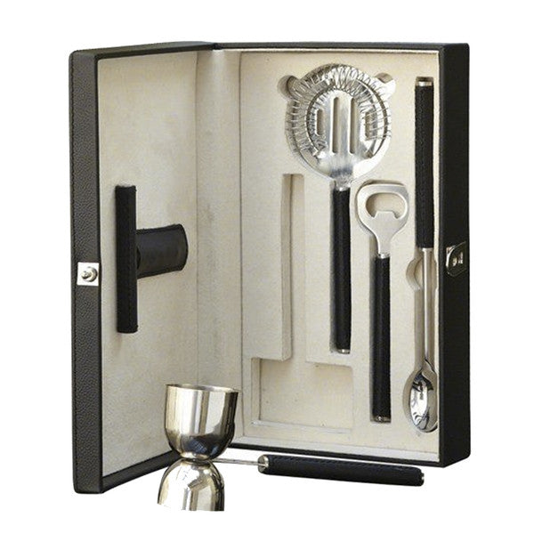 Boxed Bar Tool Set-Leather Black / Stainless Steel