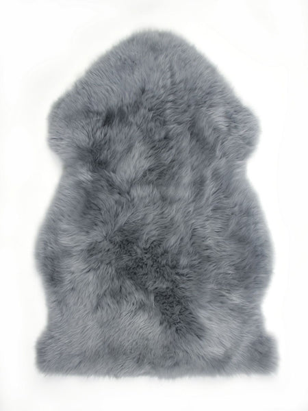 Single Sheepskin Throw Rug - Battleship Grey