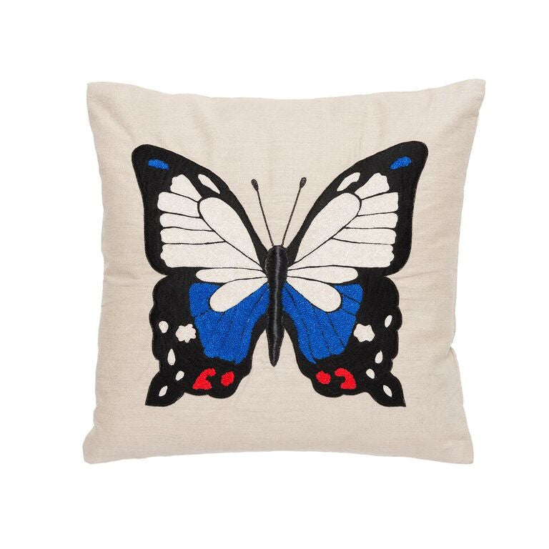 Butterfly Pillow - Blue & Red