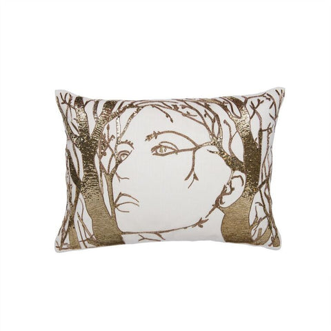 Faces of Nature Pillow - Gold
