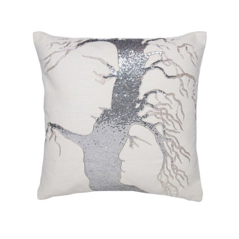 Faces of Nature Pillow - Silver
