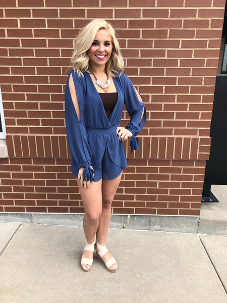 Chic and Long Sleeve Romper in Navy Blue