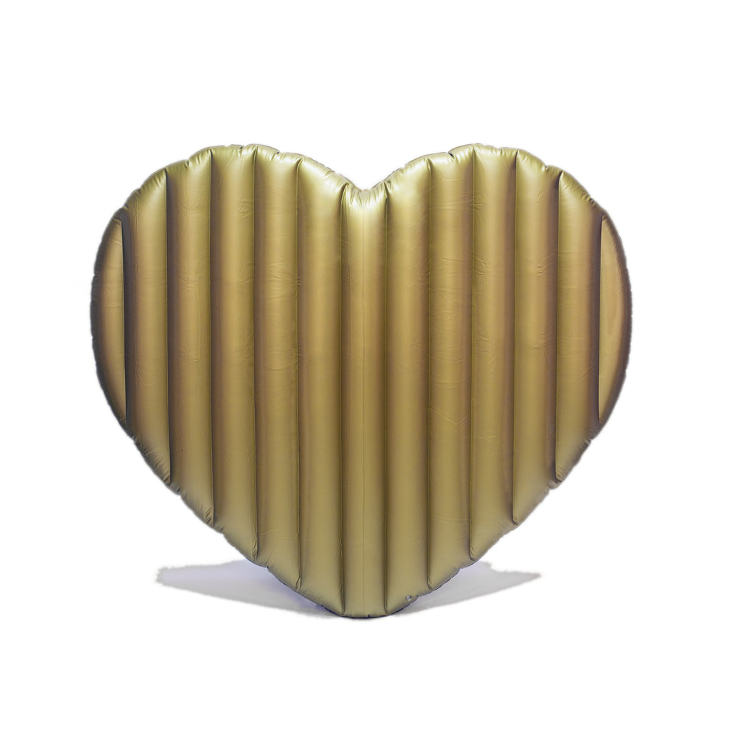 "Giant Inflatable Gold Heart Pool Floats for Adults - 72"" L X 83"" W - Great for Summer Outdoor Parties & Relaxing - Perfect Swimming Pool Float for Women, Kids, & Men - Plastic Raft"